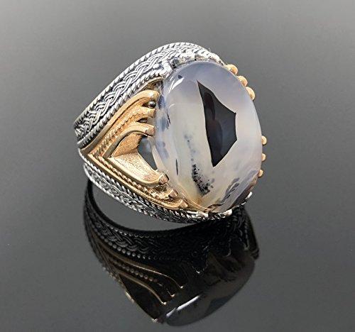 Unique men ring,Yemeni Agate Gemstone Ring Handmade Silver Men Rings 925k Silver men/'s ring.