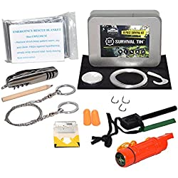 SharpSurvival Survival Tin Emergency Preparedness Survival Kit (10 Items)