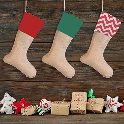 Set of 3 Pieces Burlap Christmas Stockings Decoration for DIY 3 Pack DIY Burlap Christmas Stockings for Gifts & Goodies Handmade Projects -