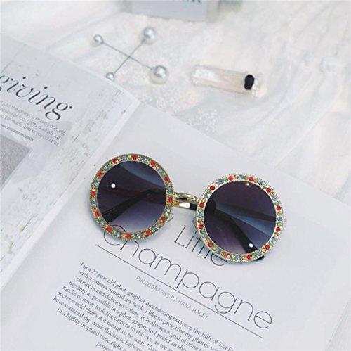 Beach amp; couleur amp;lunettes Rhinestone Lym Fashion De Lunettes 5 Sunglasses Protection Rondes Handmade x333 4 Soleil vqcgcdW