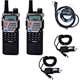 2pcs Baofeng UV-5RE8W 1/4/8Watt Tri-Antenna(Dual Band/VHF/UHF) 3800mAh Extended Battery(USA Warranty) 136-174/400-520MHz Two Way Radio FM Transceiver (with 1 USB Programming Cable+2 Car Charger Cable)