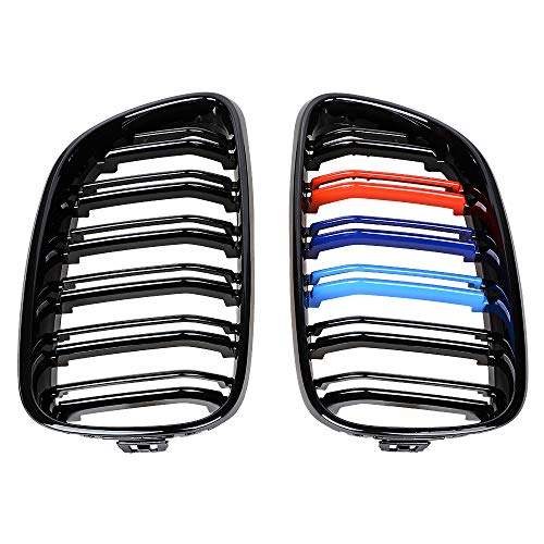 Glossy Black Dual Slats Trim M-color Painted Front Kidney Grille Compatible with BMW F22 F23 F87 M2 2014-UP