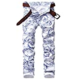Carlos Foushee Men'S Blue And White Pattern Print Jeans Slim Stretch Denim Pencil Pants Long Trousers White 34