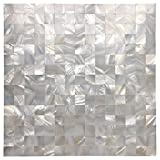 Art3d Mother of Pearl Oyster White Mini Square 12'' X 12'' Mosaic Tiles Seamless Splice Pack of 6