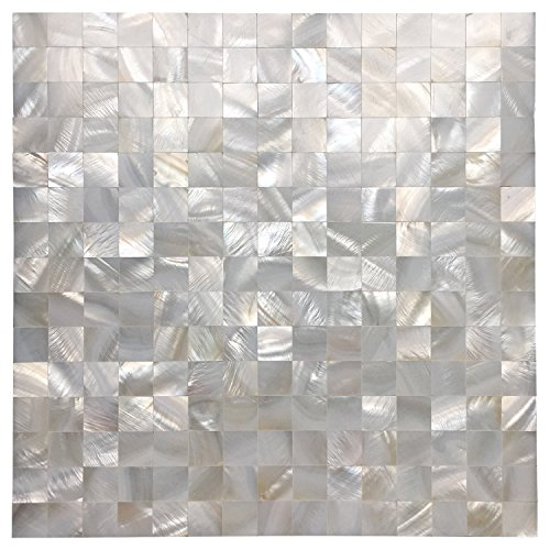 Art3d White Seamless Mother of Pearl Tile Shell Mosaic for Bathroom/Kitchen Backsplashes - Of Pearl Mother Mirrors Bathroom