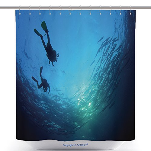Stylish Shower Curtains Scuba Divers And Shoal Of Barracuda Fish 375252601 Polyester Bathroom Shower Curtain Set With (Scuba Diver Halloween Costume Ideas)