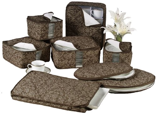 (Homewear 8-Piece Hudson Damask China Storage Container Set, Brown)