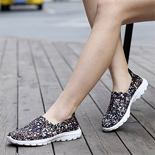 FZDX Women Fashion Shoes Shoes BROWN On Sneakers Slip Woven Walking Lightweight 955 Comfort Handmade rSrwdxqZg