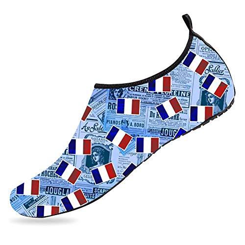 (Plspaezxx Water Sports Shoes Barefoot Quick-Dry Flag Of France Aqua Yoga Socks for Mens Womens Boys & Girls Toddler)