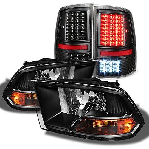 For 2009-2018 Dodge Ram 1500 | 2010-2018 Ram 2500 3500 Black Headlights + Full LED Tail Lights Pair Set ()