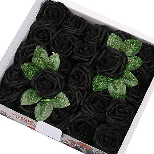 Febou Artificial Flowers, 50pcs Real Touch Artificial Foam Roses Decoration DIY for Wedding Bridesmaid Bridal Bouquets Centerpieces, Party Decoration, Home Display (Standard Type, Black)