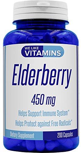 Elderberry Defense - Elderberry 450mg - 200 Capsules - Best Value - Super Immune Defense get Berry and Flower Flavonoids with Elder Berry Capsules*