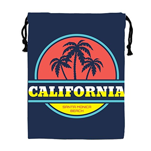 Santa Monica Beach Drawstring Bags Waterproof Party Favors Pouch Tote Bag For Women Men