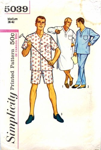Amazon.com: Simplicity 5039 Mens Pajamas Nightshirt Vintage Sewing ...