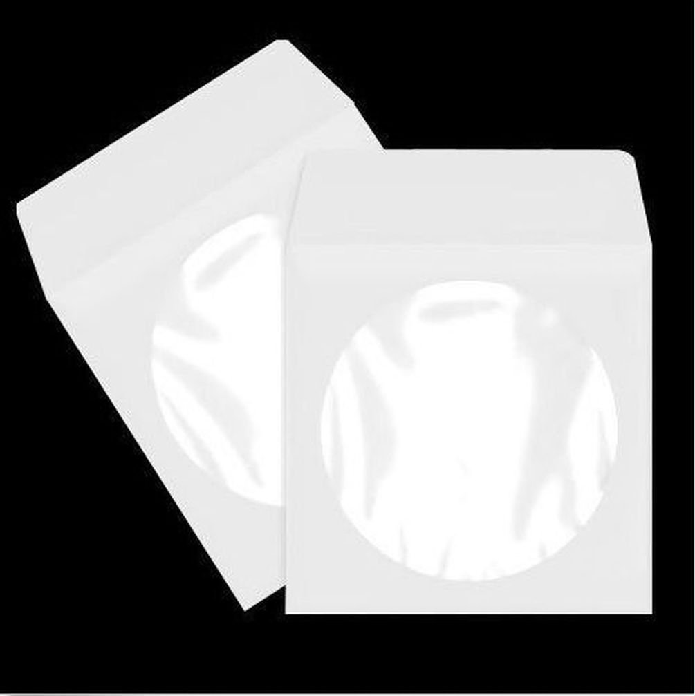 Fashion 100 Pack White Paper DVD CD Sleeve Envelope with Clear Window Cut Out and Flap
