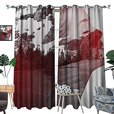 RenteriaDecor Modern Waterproof Window Curtain Double Exposure Woman Portrait Combined with Rocky Mountain Pine Trees Image Blackout Draperies for Bedroom W72 x L96 Dimgrey Ruby White