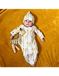 Baby Girls Boys Long Sleeve Gown+Hat Outfits Clothes Set Newborn Infant Giraffe Pajamas Sleeping Bag Sleeping Swaddle Wrap By (Size: 6Months Label Size:70, White)