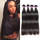 ISEE Hair 8A Malaysian Virgin Straight Hair 4 Bundles 100% Unprocessed Human Hair Weave Bundles Human Hair Extensions 4 Bundles Deal Natural Black 20 20 22 22inches