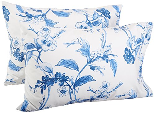 (Pinzon Signature 190 Gram Cotton Heavyweight Velvet Flannel Pillowcases, Standard, Floral Smoky Blue )