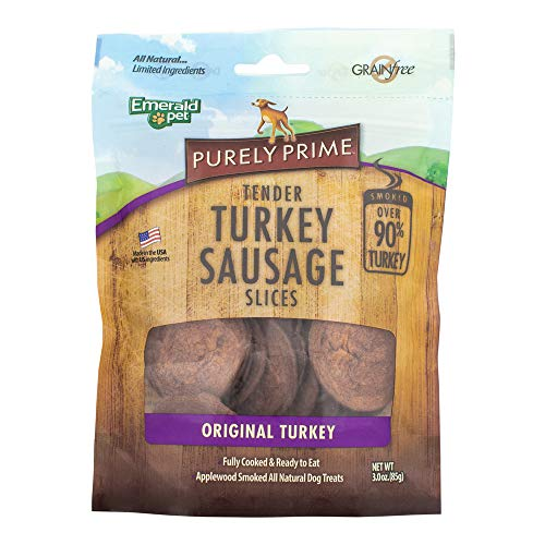 Slice Soy (Emerald Pet - Purely Prime Tender Turkey Sausage Slices, Original Turkey, All Natural, Grain Free, Gluten Free, Dairy Free, Soy Free, Allergy Friendly, Over 90% Turkey for Your Canine (3 oz))