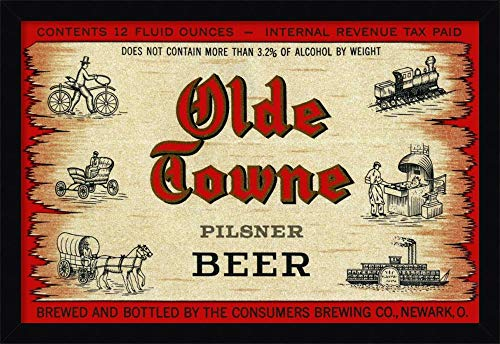 (Canvas Art Framed 'Olde Towne Pilsner Beer' by Vintage Booze)