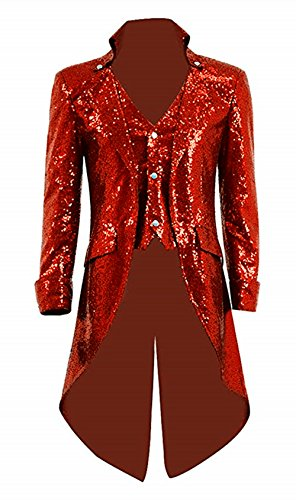 Suxiaoxi Men's Vintage Sequins Gothic Tailcoat Jacket Steampunk Halloween Costume Red ()