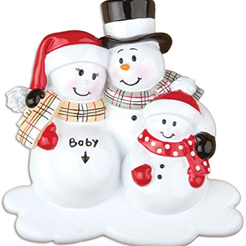 Personalized We're Expecting with 1 Child Christmas Ornament for Tree 2018 - Pregnant Snowman Family Love Bump - New Baby Coming Shower Boy Girl Gender Neutral 2nd Second -Free Customization (Personalized Snowman)