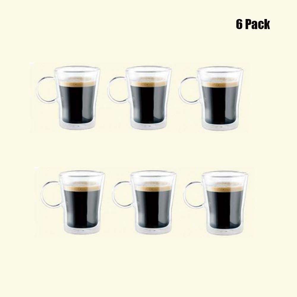 LasVen Double Wall Glass Coffee Cups Tea Cups Mugs Set, Insulated Glass Drinking Mugs for Tea,Coffee,Latte,Cappuccino,Espresso,Juice,Water, 5.5/ 9/ 12 Ounce-150/250/350ml( Set of 6) (12ounce/ 350ml) Allpsun