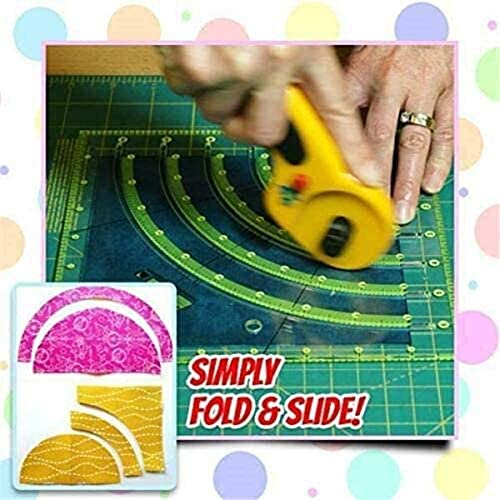 Arcs Fans Quilt Circle Cutter Ruler Multifunctional Cutting Ruler DIY Tools with Double Colored Lines