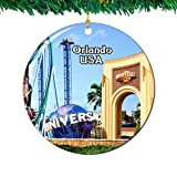 Weekino Universal Studios Florida Orlando America USA Christmas Ornament City Travel Souvenir Collection Double Sided Porcelain 2.85 Inch Hanging Tree Decoration