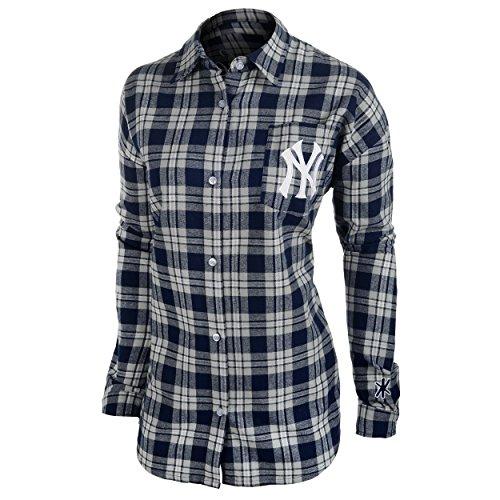 New York Yankees Womens Wordmark Basic Flannel Shirt Small