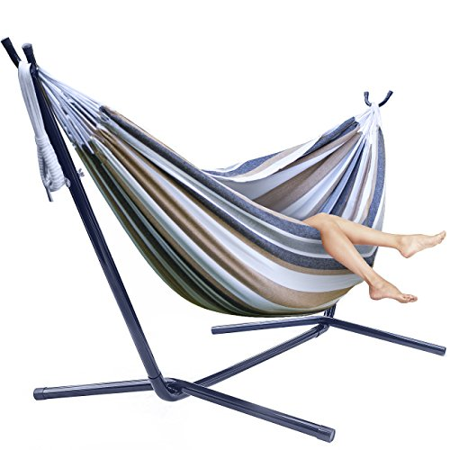 Sorbus Double Hammock + Steel Stand Two Person Adjustable Hammock (Large Image)