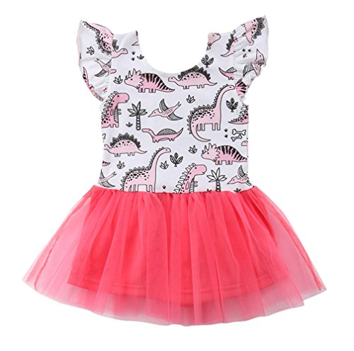 - Faithtur Toddler Baby Girls Dinosaur Dresses Cartoon Splicing Double Layers Tutu Dress One Piece (0-6 Months, A)