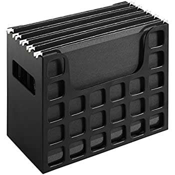 Pendaflex Portable Desktop File, Side Handles, Hanging File Folders, Tabs & Inserts, Letter Size, 9-1/2 Inches x 12-3/16 Inches x 6 Inches, Black (23013)