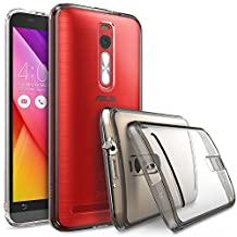 ASUS ZenFone 2 Case - Ringke FUSION ***Earphone Hole Dust Cap & Drop Protection*** [FREE HD Film][SMOKE BLACK] Premium Clear Back Shock Absorption Bumper Hard Case for ASUS ZenFone 2 ZE550ML / ZE551ML 5.5-Inch (Not for ZE500CL) - Eco/DIY Package
