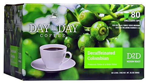 Day to Day Decaffeinated Colombian Blend Single Serve Coffee Cups, Fits Keurig K Cup Brewers, Box of 24 (03604)
