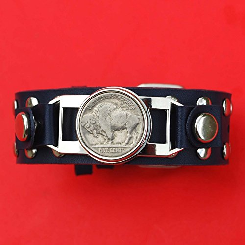 Coin Studded (US 1913 ~ 1938 Indian Head Buffalo Nickel Coin Studded Leather Bracelet NEW Old Stock)