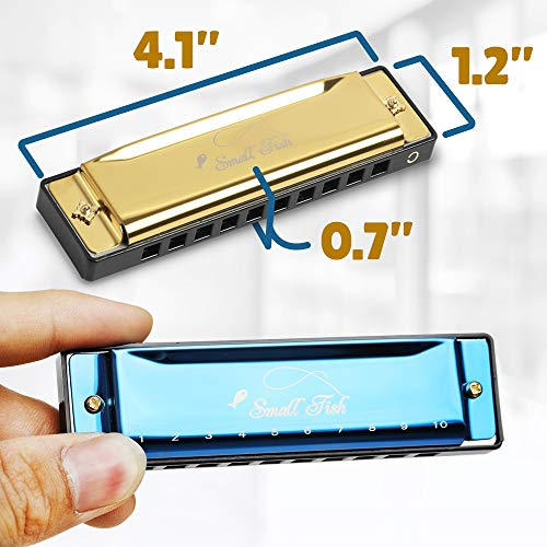Harmonica for Adults and Kids, 4 Pack Diatonic Harmonicas in the Key of C for Beginners with Song Book and Cleaning Cloth, Easy To Play Blues Harp Musical Instrument for Jazz, Folk, Rock, and More