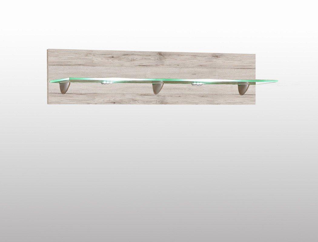 Wandboard Phil 11 Sandeiche 120x25x22 cm Wandregal mit Beleuchtung Regal Wohnzimmer Esszimmer Jugendzimmer