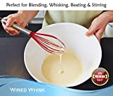 Wired Whisk Silicone Whisk Set of 3 - Stainless Steel & Silicone Kitchen Utensils for Blending, Whisking, Beating & Stirring - (Blue: 12-inch, Red: 10-inch & Green: 8.5-inch)