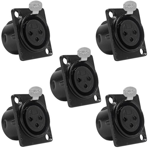 219-5Pack - 5 Pack of XLR Female Panel Mount Connector - Black Metal Housing - Fits Series D Pattern Holes Pro Audio ()