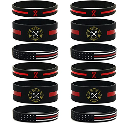 Inkstone (12-pack) Firefighters Thin Red Line Silicone Bracelets - Wholesale Bulk Pack of Support Wristbands for Firefighters