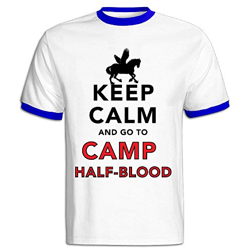 Keep Calm And Go To Camp Half Blood Male Baseball T Shirt RoyalBlue (Logan Lerman Merchandise compare prices)