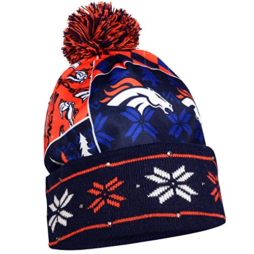 FOCO Denver Broncos Exclusive Busy Block Printed Light Up Beanie by FOCO