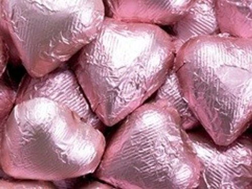 (Pink Foil Dark Chocolate Hearts)