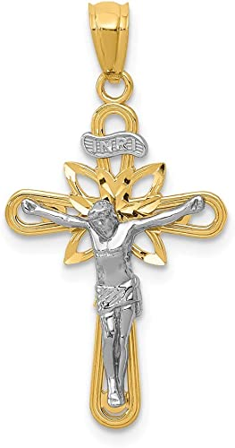 14k Two-Tone Crucifix Pendant Length 29.5 Width 15