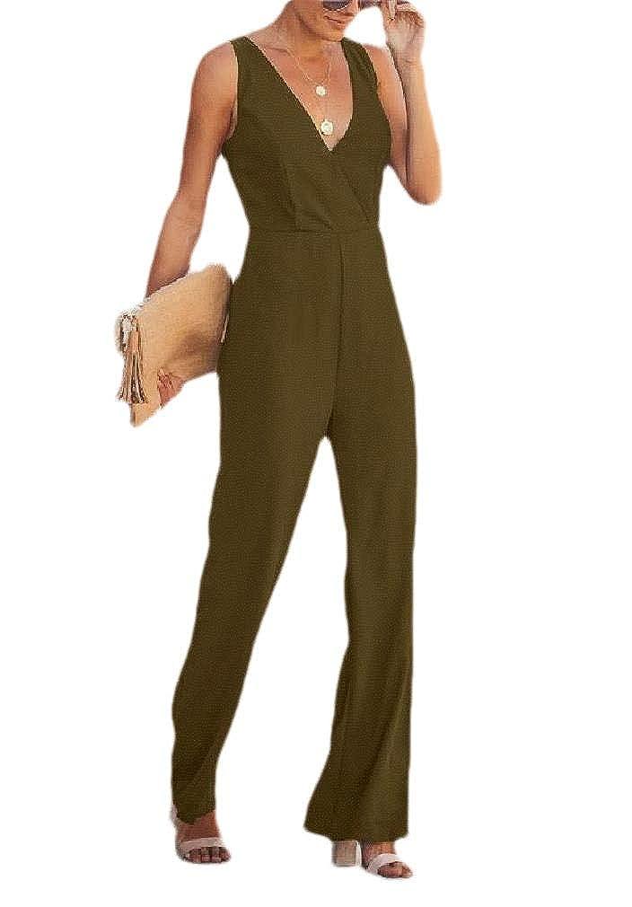 Losait Womens Low Cut Deep V-Neck Backless Pants Highwaist Sling Pants
