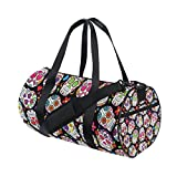 TIZORAX Day Of The Dead Sugar Skull Gym Duffle Bag Drum tote Fitness Travel Bag Rooftop Rack Bag