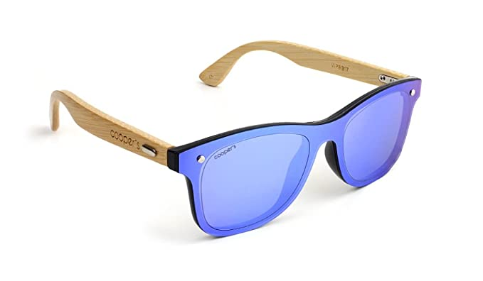 Gafas de sol espejo azules con patillas de madera: Amazon.es ...