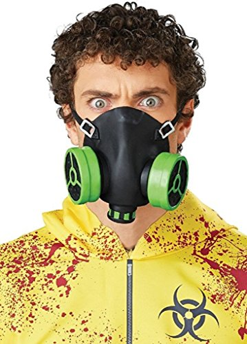 [Black and Green Rubber Biohazard Gas Mask - Half Face Costume Accessory] (Gas Mask Costume Accessory)